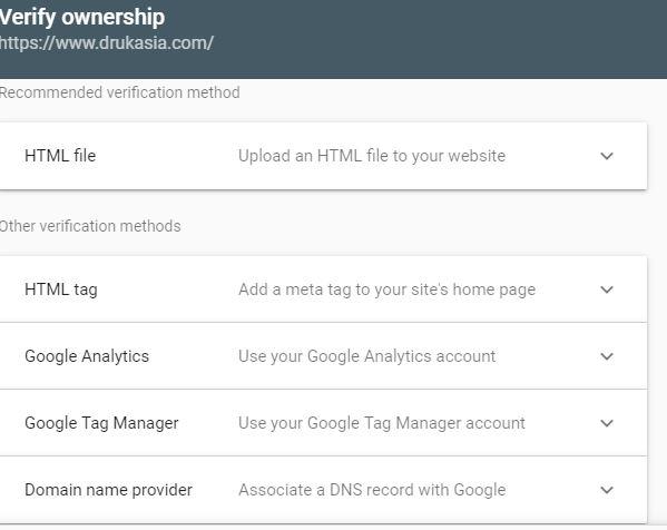 verification method on google search console