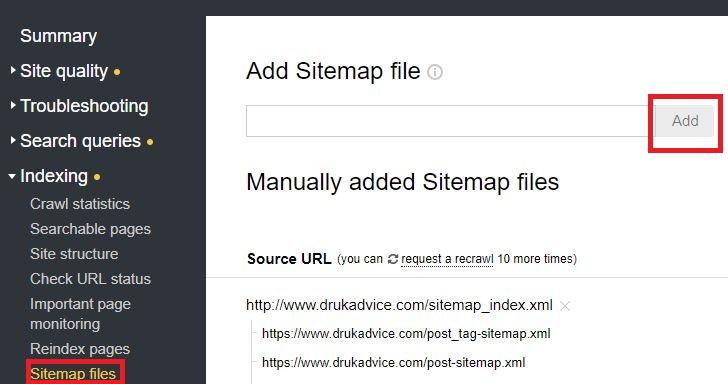 submit sitemap to yandex