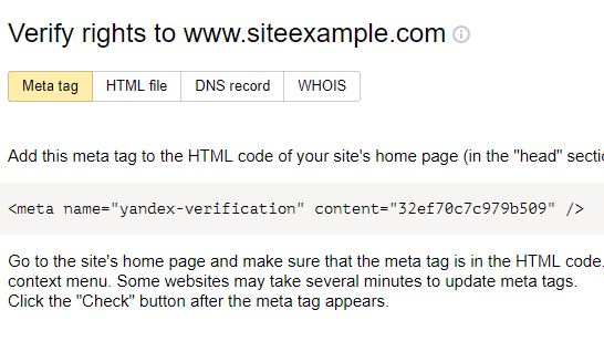 verify ownership with following method( Yandex webmaster)